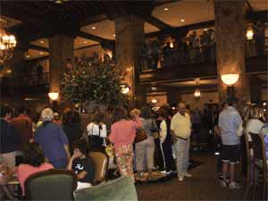 Peabody hotel - crowd gthered for the