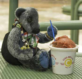 Wilbeary eating his ice cream